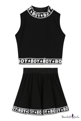 top boy black white crop crop tops high waisted skirt high waisted high waisted skirt stars