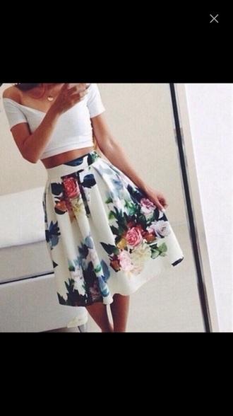 skirt white skirt floral dress floral skirt fashion