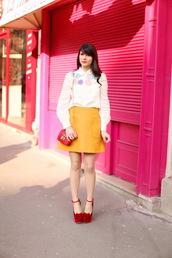 the cherry blossom girl,shoes,skirt,shirt,bag