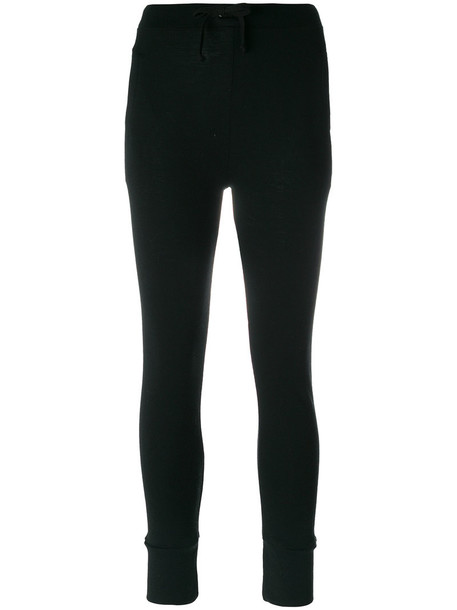 The White Briefs - slim fit track pants - women - Wool - L, Black, Wool