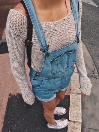 sweater jumper knit denim denim play suit romper converse denim overalls short overalls fine knit jumper knitted sweater shorts blue beige nude dress jumpsuit tumblr tumblr outfit cute outfits aesthetic denim romper