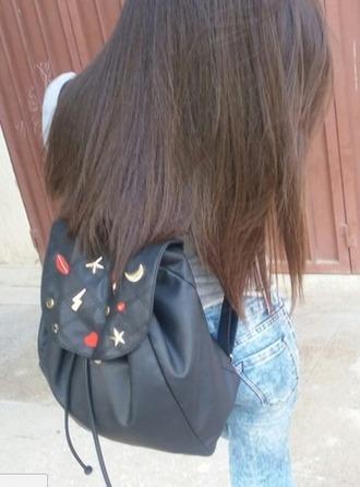 bag black backpack leather backpack leather drawstring