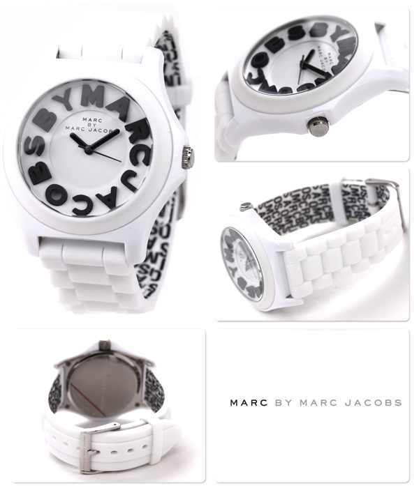 Marc by marc jacobs mbm4005 women's sloane white silicone strap watch $150 nwt