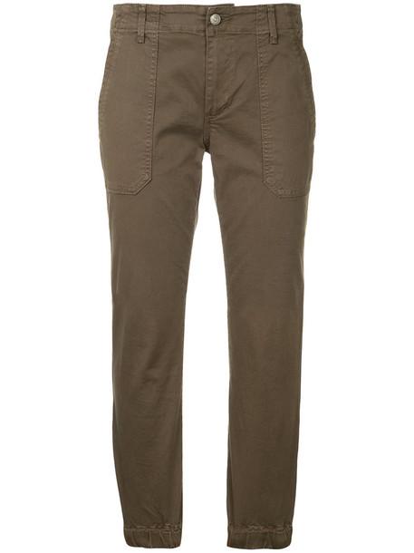 Vince cropped women spandex cotton green pants