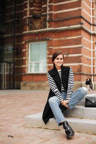 style scrapbook blogger jeans sleeveless coat striped sweater