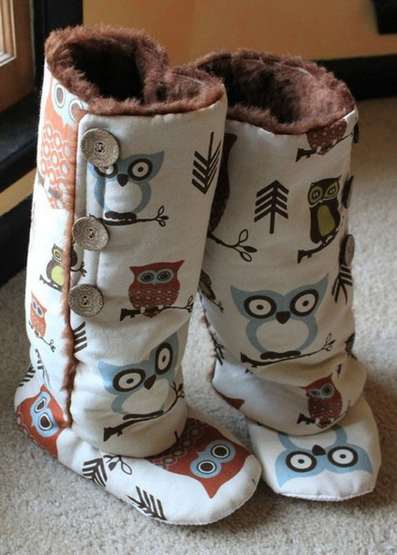 shoes white slippers owls boots owl