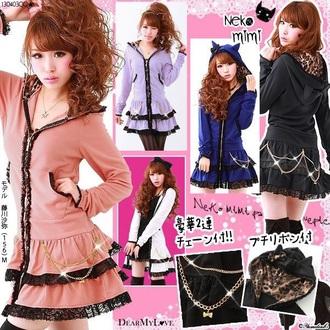 coat jacket kawaii cute pink black lepord gyaru blue lavender