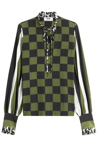 blouse print silk multicolor top
