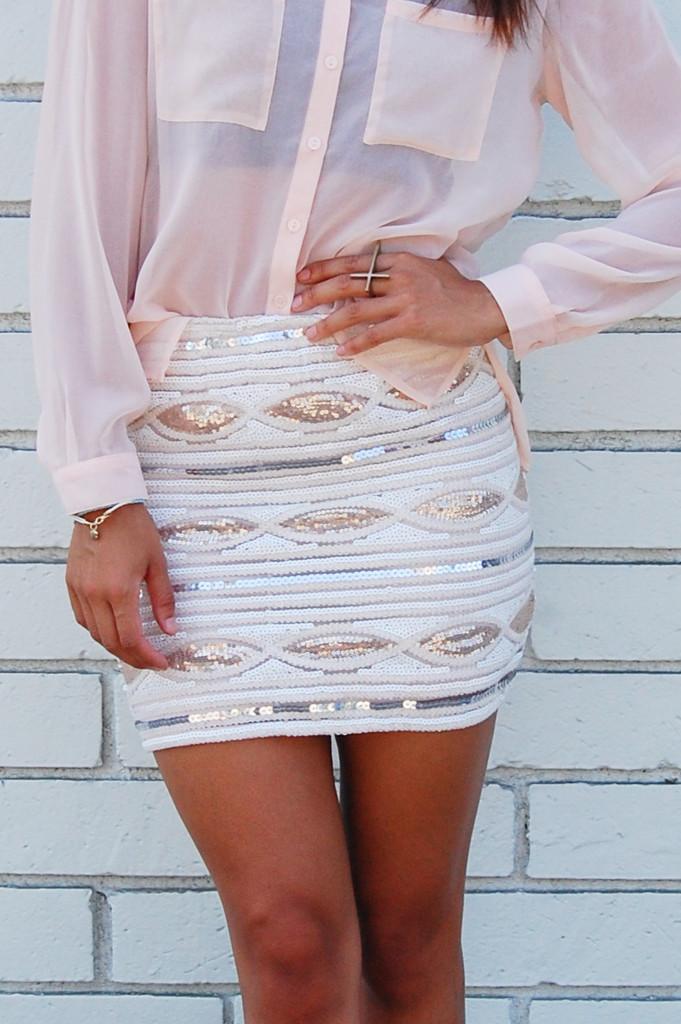 Mini Skirt - Pastel Print Sequin Body-con High | UsTrendy