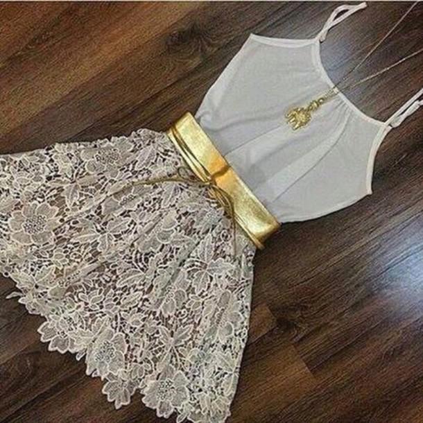 dress cute dress belt style girly cute fashion gold
