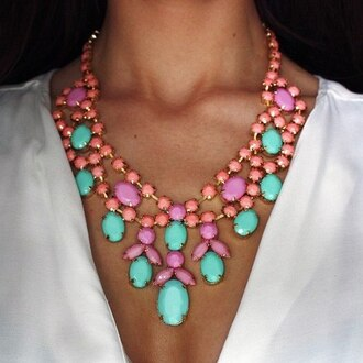 jewels necklace pastel big necklace pink coral aqua blue mint accessory accessories v neck glamour