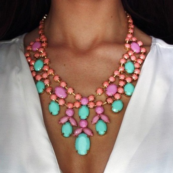 aqua blue pink jewels necklace pastel pastels big necklace coral mint accessory accessories v-neck glamourous