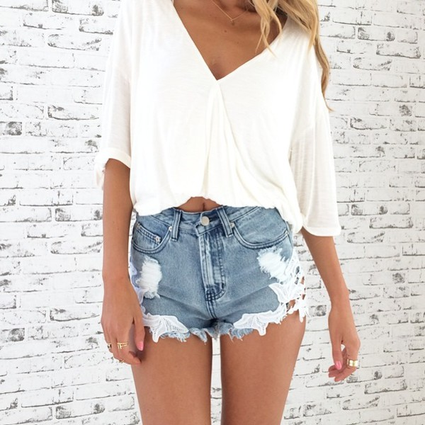 ripped shorts High waisted shorts blouse top