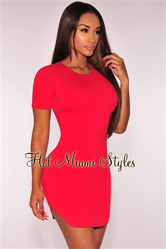 Red Curved Hem Dress