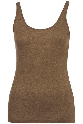 Khaki basic scoop vest