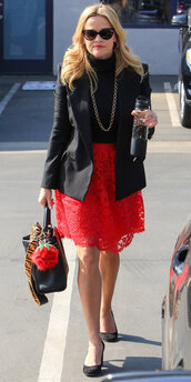 skirt,red,red skirt,black blazer,reese witherspoon,lace skirt,celebrity,jacket
