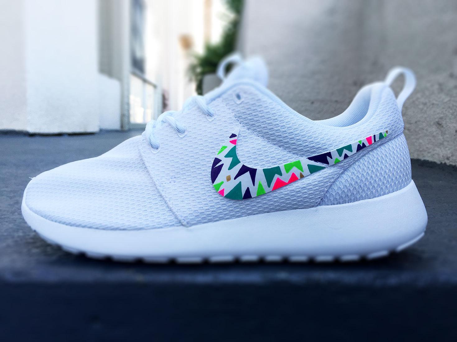 best website 7cb01 3c2d2 Custom Nike Roshe Run sneakers for women, Lime, purple, green ...