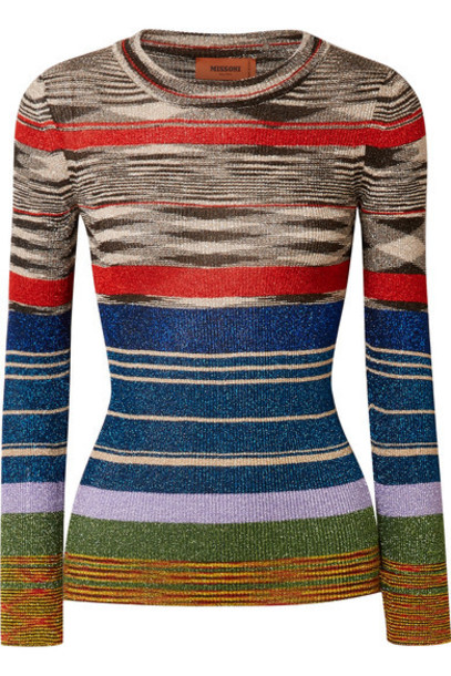 Missoni top metallic black knit