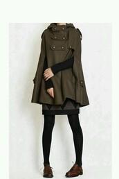 coat,jacket,cape coat,Military Cape Coat,military style,military coat