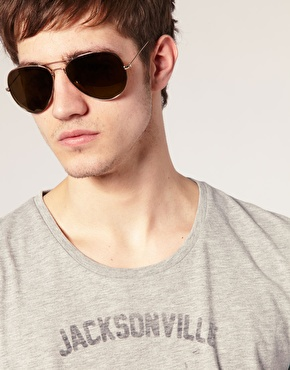brown lens aviator sunglasses  ASOS Aviator Sunglasses with Gold Brown Lens at ASOS