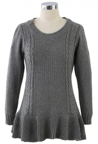 Frill Hem Knitted Top in Grey - Retro, Indie and Unique Fashion