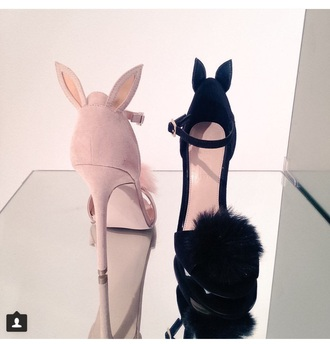 shoes pink pink shoes pink heels black black shoes black heels bunny ears pompom trim