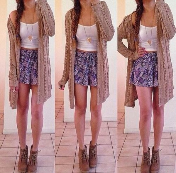 skirt blue purple cardigan