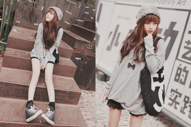 sweater bow necklace knit hat hat bag black grey grey white beige sneakers shorts converse shirt ulzzang