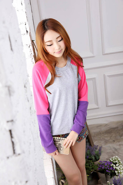sweater shorts purple pink