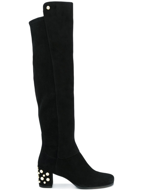 studded high women knee high knee high boots leather suede black shoes