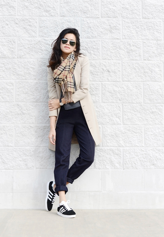behind seams blogger adidas shoes tartan scarf beige coat