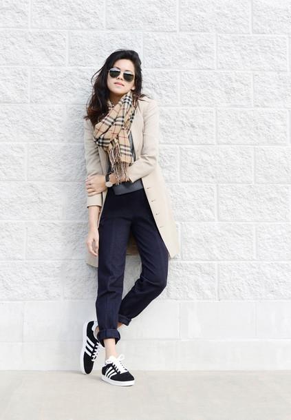 behind seams blogger adidas shoes tartan scarf beige coat coat sweater jewels shoes sunglasses adidas scarf