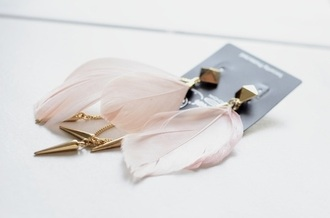 jewels earrings big earrings spikes spike earring jewelry feathers feather earrings boho jewelry earphones pink stud