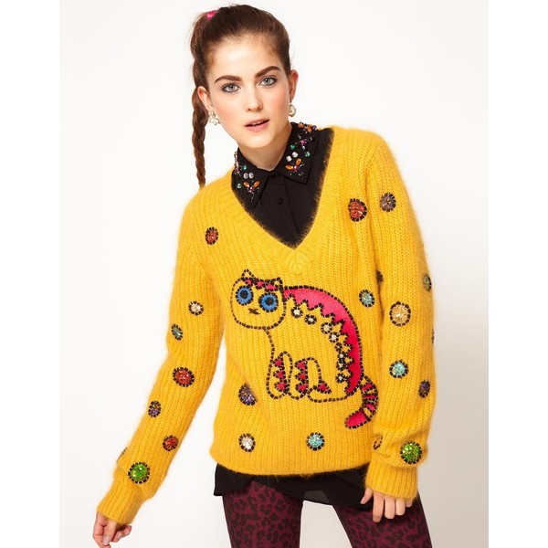 Manoush V Neck Sweater With Cat Motif