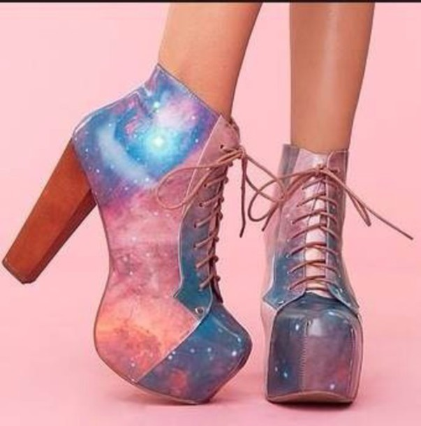 shoes high heels platform lace up boots galaxy print galaxy shoes