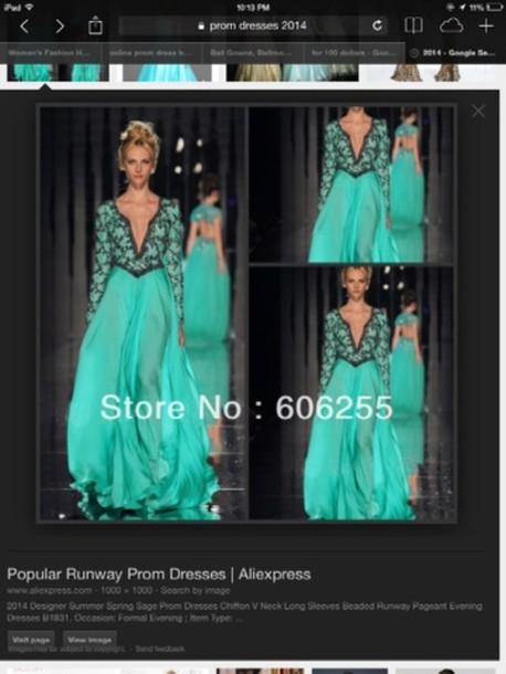 dress mint green prom dress lace