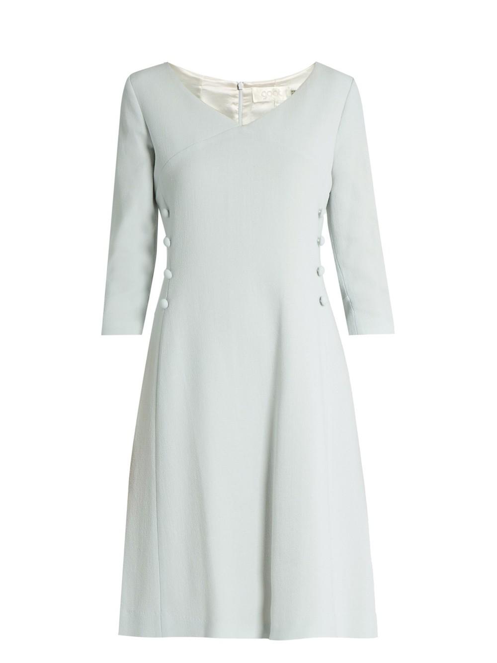 489a5d0d544 GOAT Darling V-neck wool-crepe dress in blue