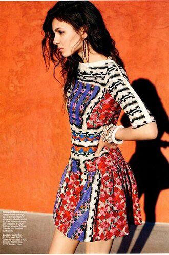 dress bohemian red blue sleeves multicolor long sleeve dress mini dress purple dress