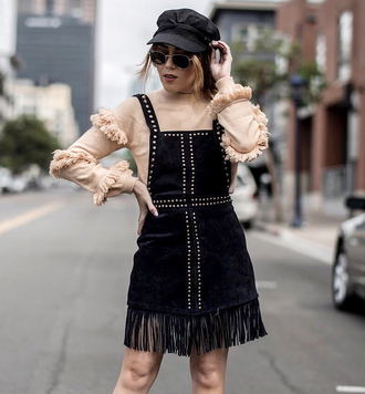 skirt ruffled top hat tumblr mini skirt black skirt overalls top nude top ruffle fisherman cap