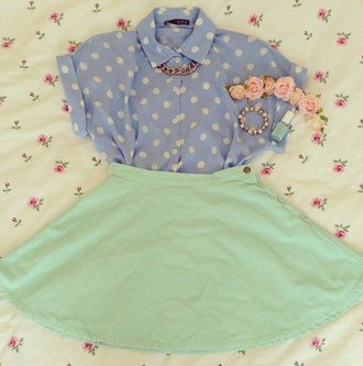 blouse shirt spotty blue vintage cute jewels skirt floral polka dots