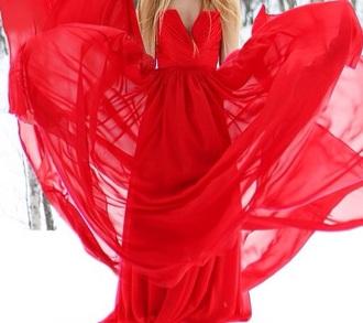 dress red flowey long maxi