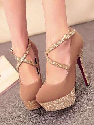 sparkle sparkly glitter nude high heels glitter shoes glitter heels glitter heel shoes glitter heels.nightclub heels glitters golden heels golden shoes strappy heels t strap nude high heels princess