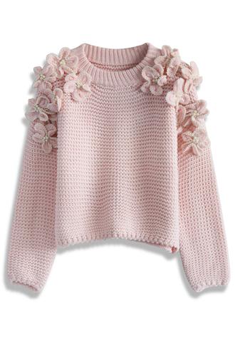 sweater chicwish pink pastel pink retro pastel sweater