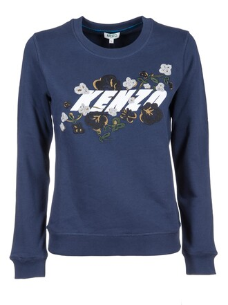 sweatshirt embroidered floral blue sweater