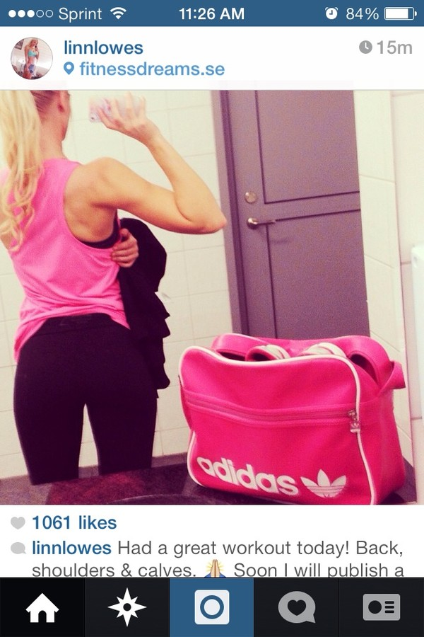 bag pink adidas gym bag cute