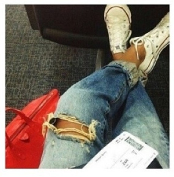 red bag shoes bag boyfriend jeans converse jeans