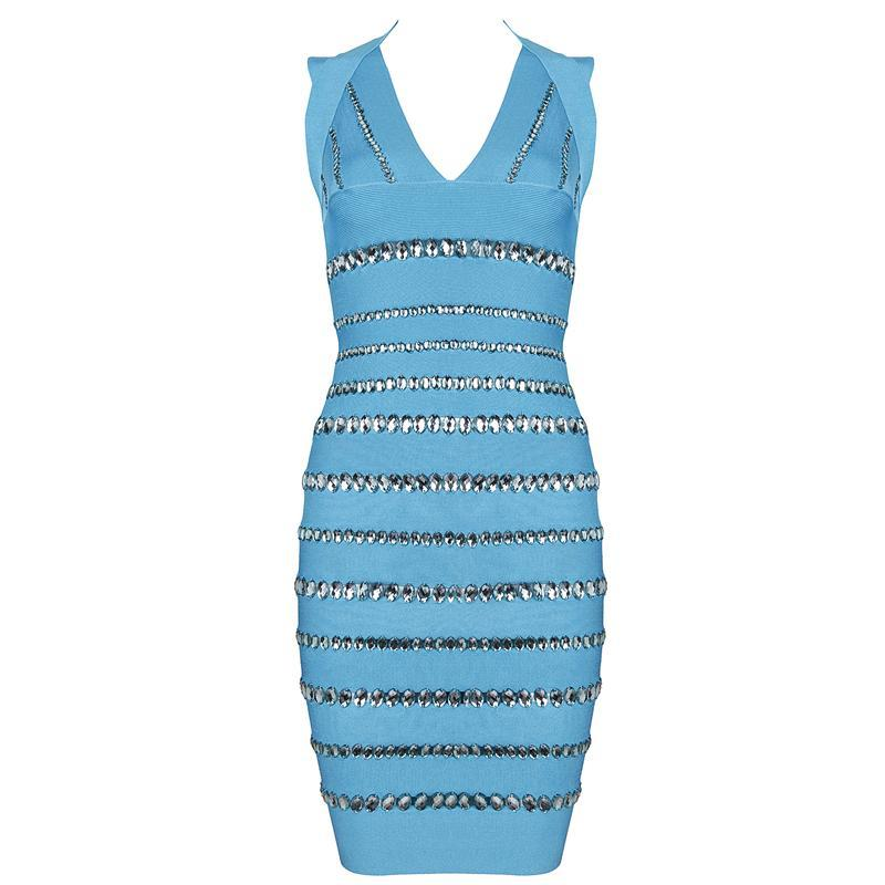 Turquoise rhinestone diamante bandage bodycon pencil dress — girl crush boutique