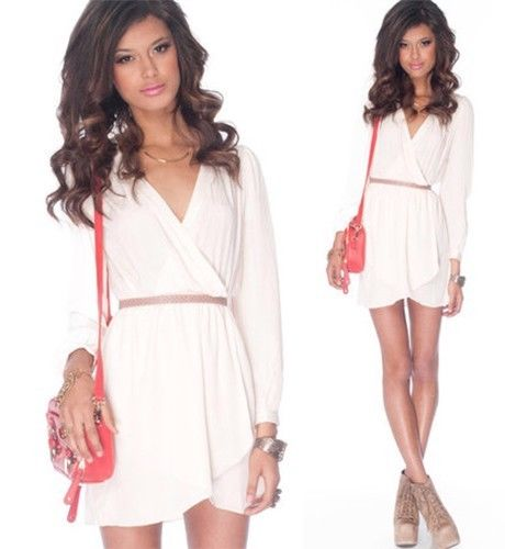 White long sleeve wrap dress elastic waist tulip skirt chiffon classic