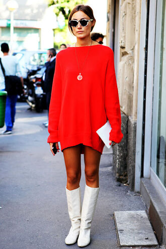 dress red mini dress sweater dress long sleeves long sleeve dress mini dress red dress white boots boots flat boots streetstyle sunglasses necklace jewels pouch