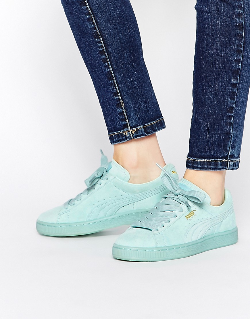 online store 3b557 d38d7 Puma Basket Suede Classic Mint Green Trainers at asos.com